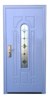 Puerta Alta Seguridad Con Vidrio Decorativo