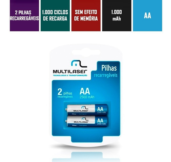Pilha Recarregável Aa Pack Com 2 2500mah Cb053 Multilaser