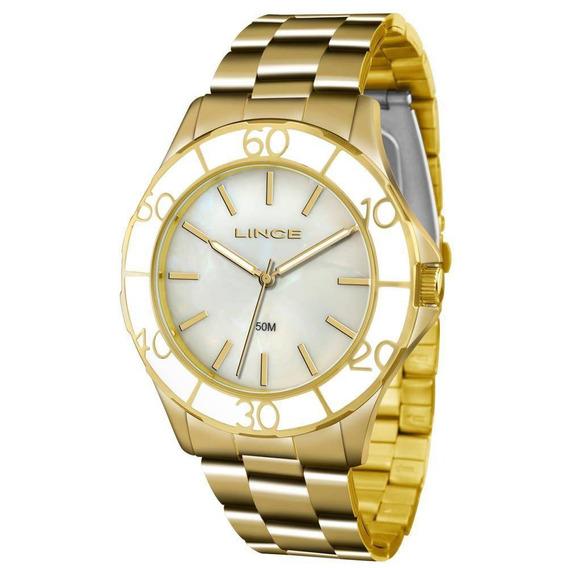 Relógio Lince Feminino Dourado Perolado Lrgj067l