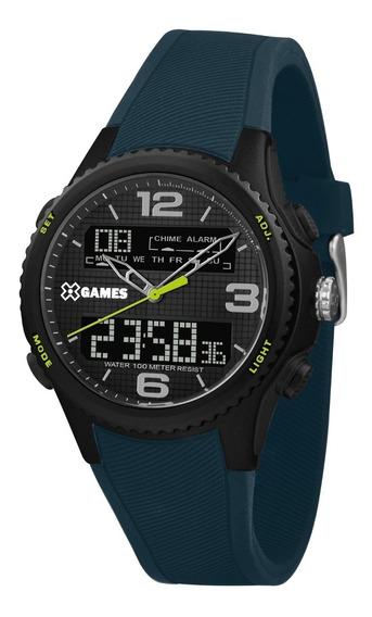 Relógio X-games Masculino Anadigi Xmppa284 Preto Azul