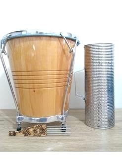 Combo Caja Vallenata En Madera Con Forro+ Guacharaca+trinche