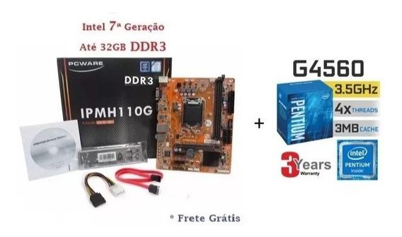 Kit Placa Mãe Ipm H110m-h Ddr3 + Pentium G4560 Box