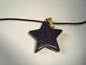 Colar Fio Couro Pingente Pedra Estrela Metal Dourado