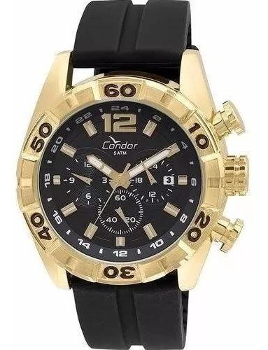 Relógio Condor Masculino Dourado Condor Preto Grande 18k