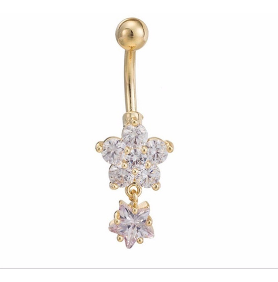 Piercing De Umbigo Dourado Flor Estrela F Ouro Zirconia Flor