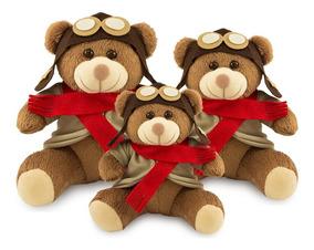 Trio De Ursinhos De Pelúcia Aviador - Decoração De Festas