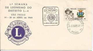 Envelope Lions Distrito L- 4 São Paulo 1969