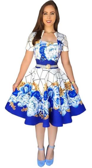 Super Kit 2 Vestido Gode Duplo Gola Princesa Floral Gospel