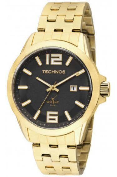 Relógio Masculino Technos Dourado Classic Golf Com Data + Nf