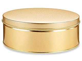 Caja Con 24 Latas Decorativas Para 907 Gramos Color Dorado