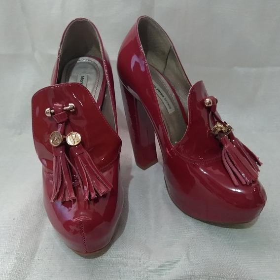 Sapato Retrô Salto Grosso Meia Pata Morena Rosa Vermelho 34