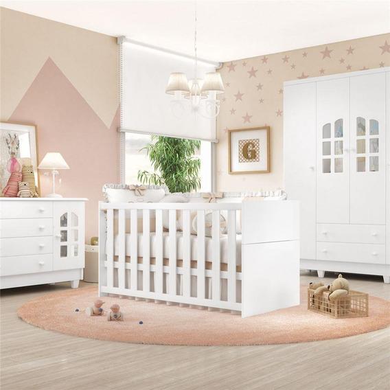 Quarto Bebê Branco Berço/cômoda/guarda-roupa Grão De Gente