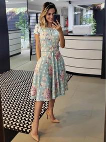 Vestido Feminino Rodado Midi Ziper Cinto Moda Evangélica