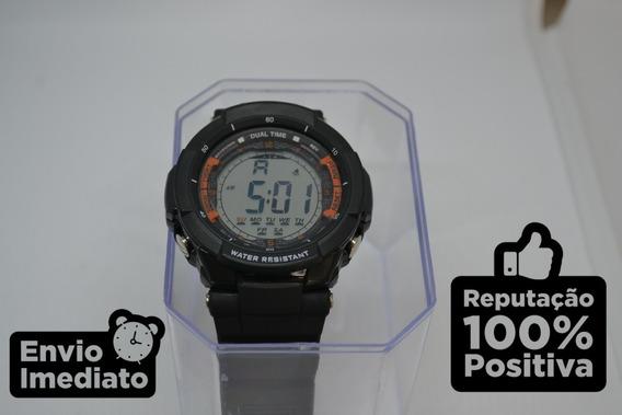 Relógio Dual Time Digital Esportivo Militar Resistente Água