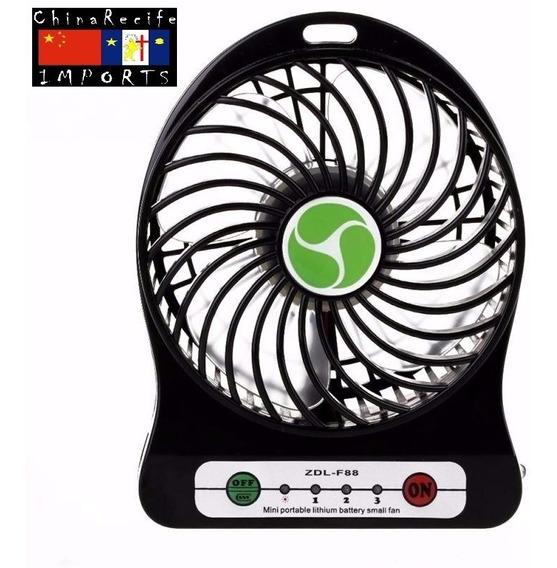 Mini Ventilador Usb E Pilha Powerbank Lanterna Tudo 3 Em 1