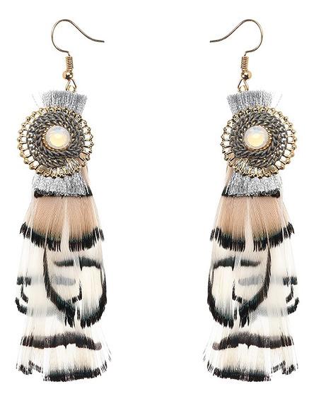 Mulheres Bohemian Brincos De Luxo Banhado A Ouro Pena Pingen