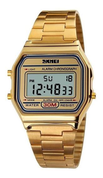Relógio Retrô Digital Dourado. Prata E Rosê Com Garantia