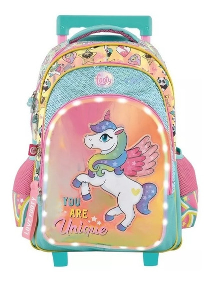 Mochila Footy Unicornio Luz Led Escolar Carro Lentejuelas
