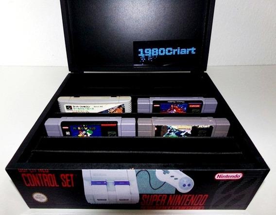 Porta Cartucho Super Nintendo De Madeira Capacidade 16 Fitas