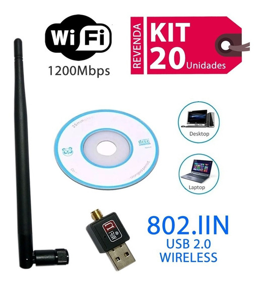 Lote Kit 20 Adaptadores Wireless Usb Wifi 1200mbps Sem Fio
