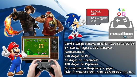 Cartão Recalbox 128gb V1 17.510 Mil Jogos E 119 Sistemas