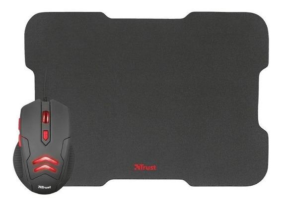 Kit Gamer Trust Mouse Ziva 3000dpi Com Fio E Mousepad Novo
