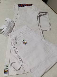 Kimono Judô Trançado Oficial Adulto Branco Com Faixa Shihan