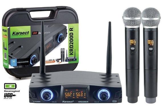Microfone Karsect Sem Fio Krd200 Dr Bateria Recarregável Usb