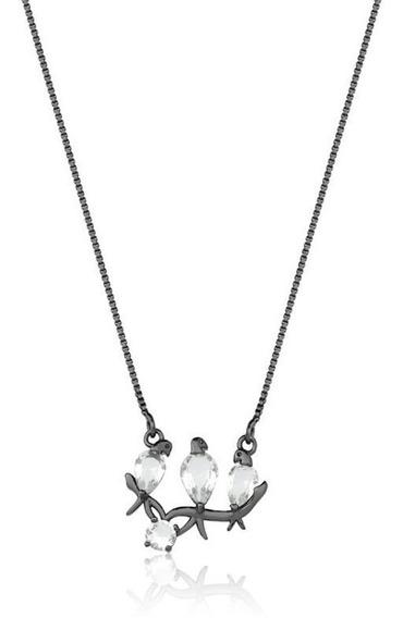 Colar Feminino Ródio Negro Pingente Zircônias Pássaros Z12