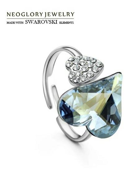 Fino Anillo Platino 18k Lam/cristal Swarovski Heart Original