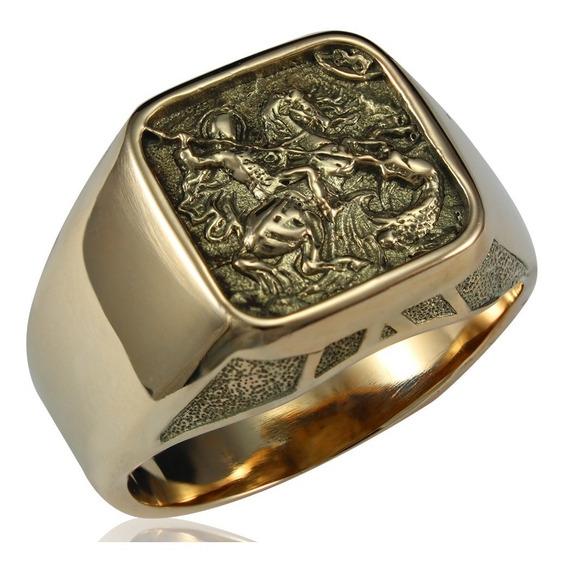 Anel São Jorge - Santo Guerreiro De Ouro 10k