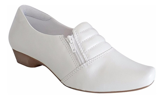 Sapato Branco Enfermagem Couro Salto Baixo 2,5cm Neftali