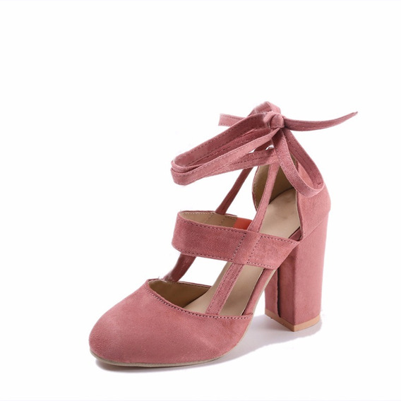 Sapatos Femininos Salto Alto Flock Tiras Cruzadas