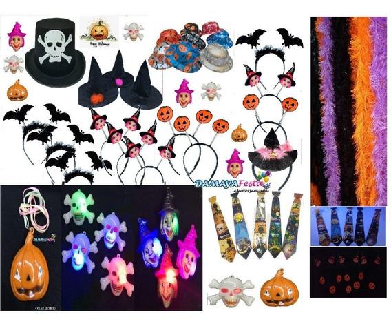 Kit Festa Halloween Chapéus De Bruxa,piscas Abóbora,etc50pçs