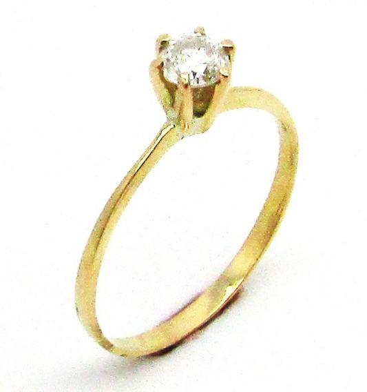 1242 Anel Solitário Diamante 33 Pontos De Ouro 18k