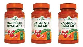 3x Magnesio Dimalato 60 Cápsulas Sem Amido Cloreto Glicinato