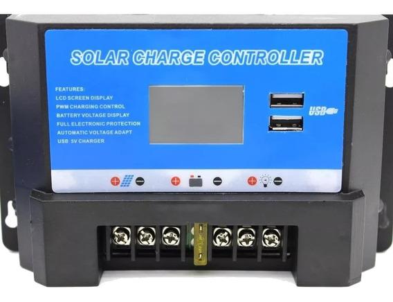 Controlador De Carga Solar 30a 12/24v Pwm Lcd 2 Saídas Usb