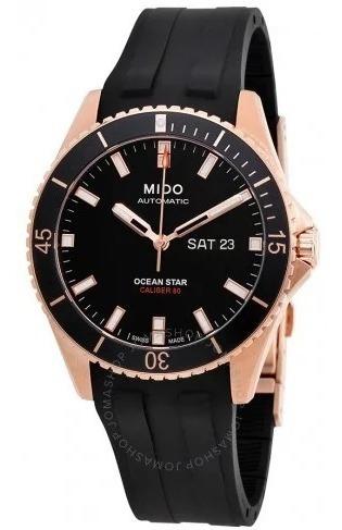 Relógio Automático Mido Ocean Star Preto/dourado Borracha