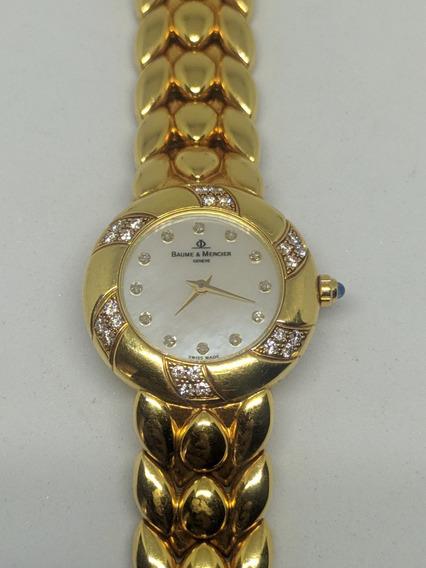 Relógio De Ouro Com Brilhantes Jóia Relíquia Baume & Mercier