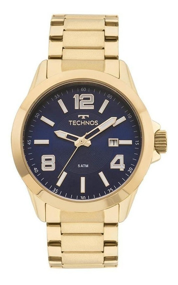 Relógio Technos Masculino Ref: 2115kpr/4a Casual Dourado