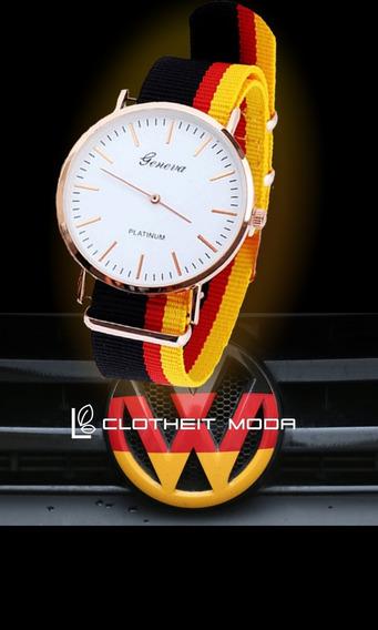 Reloj Correa Tejida Volkswagen Alemania Quartz Geneva