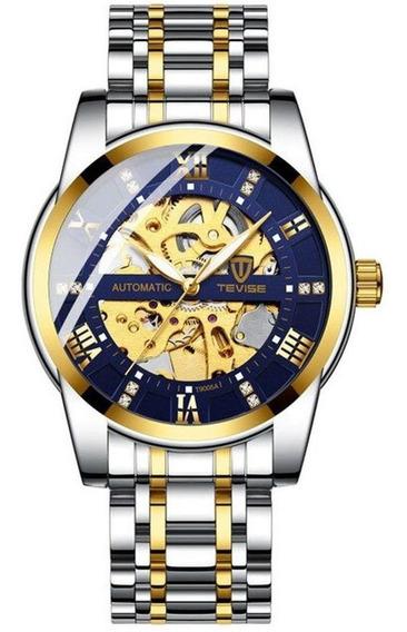 Relógio Masculino Tevise T9005a Resistente Á Arranhoes Prata