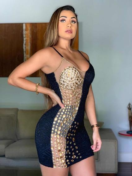 Vestido Pedraria Balada Festa Sexy Decote Panicat