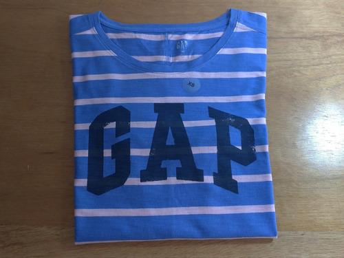 Imagem 1 de 9 de Tshirt Gap Feminina Azul Listrada Original Graphic Tee Eua