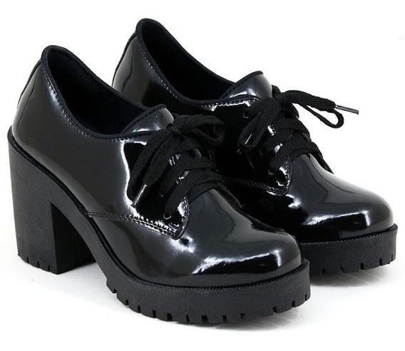 Sapato Oxfort Feminina Salto Grosso Tratorada Sapato Social