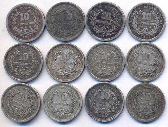 Uruguay Plata 900 Precioso Lote 12 Monedas 10 Cent 1877-93
