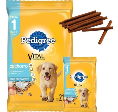 Imagen 1 de 2 de Pedigree Perro Cachorro 21 Kg + 1.5kg Con Snacks