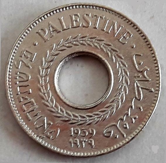 Palestina Moneda Del Año 1939 Y De 5 Mils (3 Idiomas)