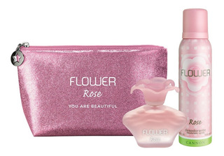 Perfume Mujer Flower Rose 40ml + Desodorante + Bolso Porta Cosmeticos
