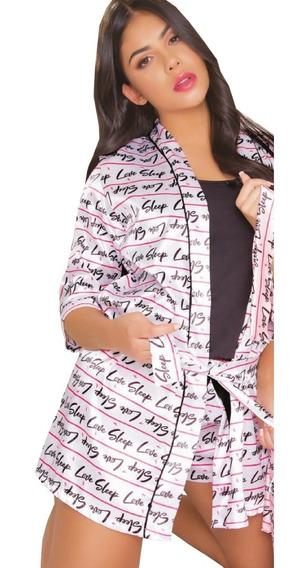 Kimono Mas Pijama: Blusa Y Short En Satin Lineas Mujer
